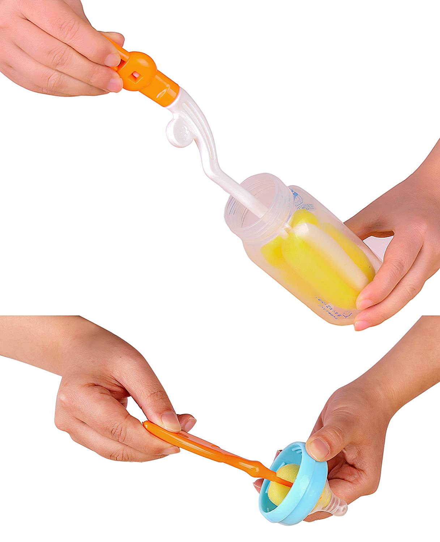 Reinigungsb/ürste Flaschenreiniger 360 Grad schwenkbar Schwamm Baby Milch F/ütterung Flasche Nipple Reinigung