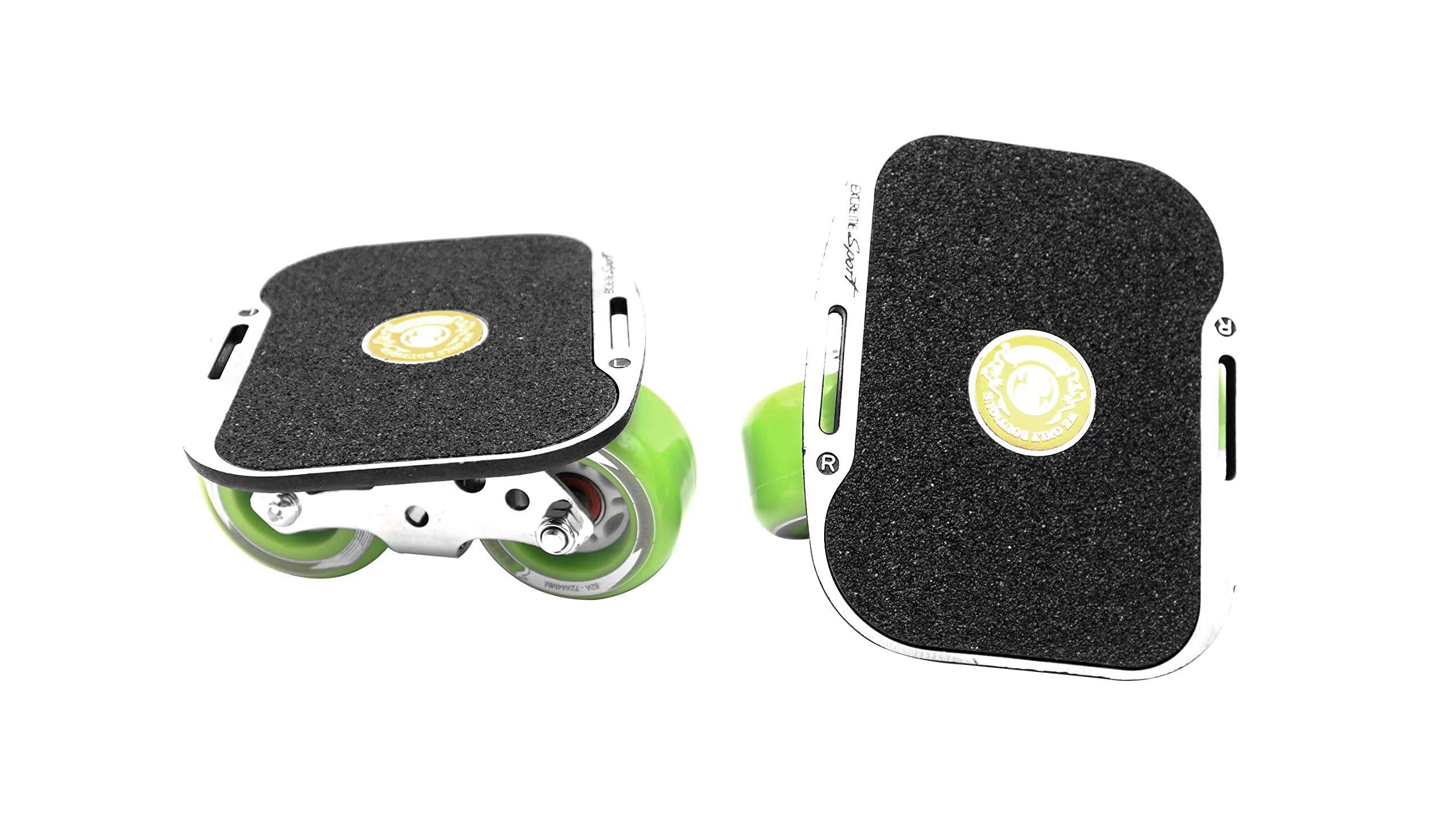 Roller Road Drift Skates Plate Pro Skates Anti-Slip Board Portable Split Skateboard All-in-one Aluminum Alloy with PU Wheels(Green)
