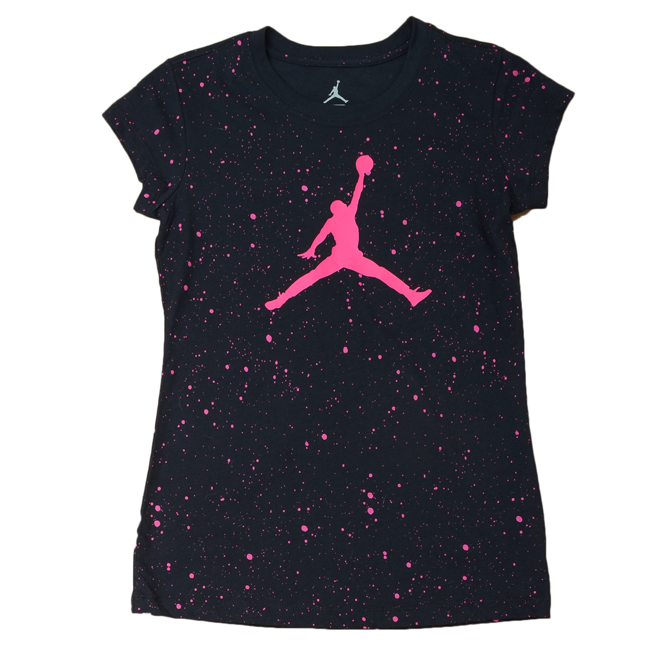 NIKE Jordan Big Girl's AOP Speckle Short-Sleeve Tee (L(12-13YRS), Black/Pink)