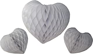 product image for Set of 3 Honeycomb Tissue Paper Valentine's Heart Decorations (White)