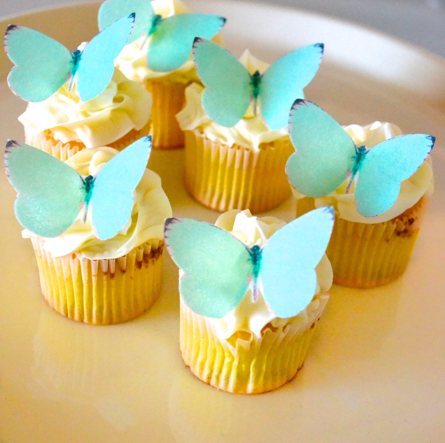 Edible Butterflies - Small Teal Color Set of 24 - Cake and Cupcake Toppers, Decoration