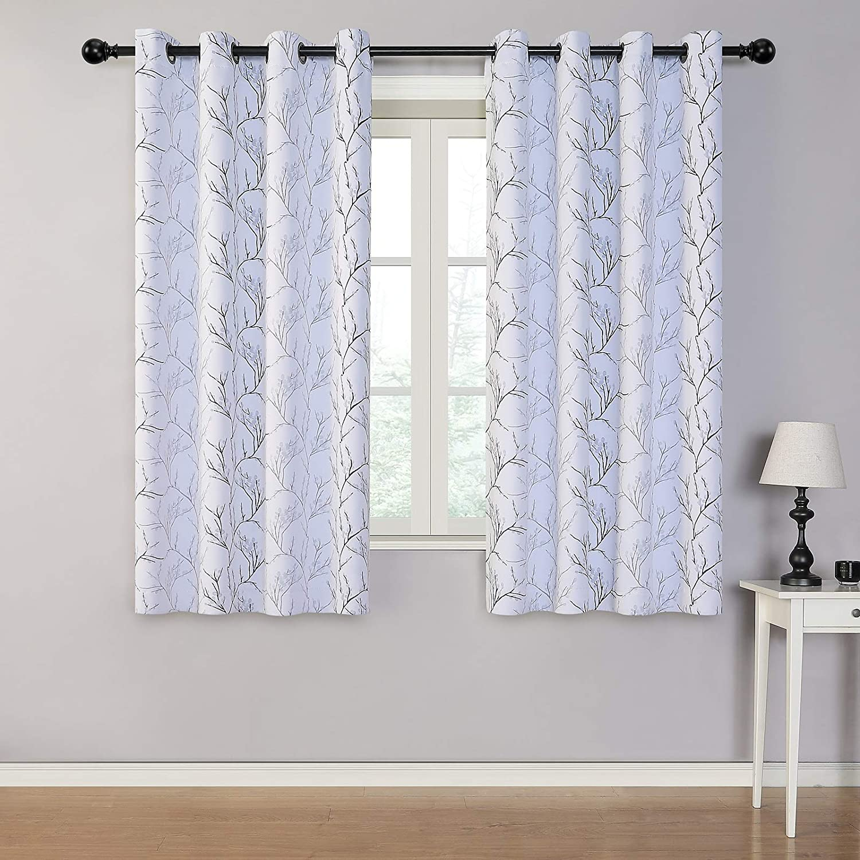 MYSKY HOME Black Branch Pattern Room Darkening Curtains 63 Inch Length for Living Room Grommet Window Curtain 2 Panels