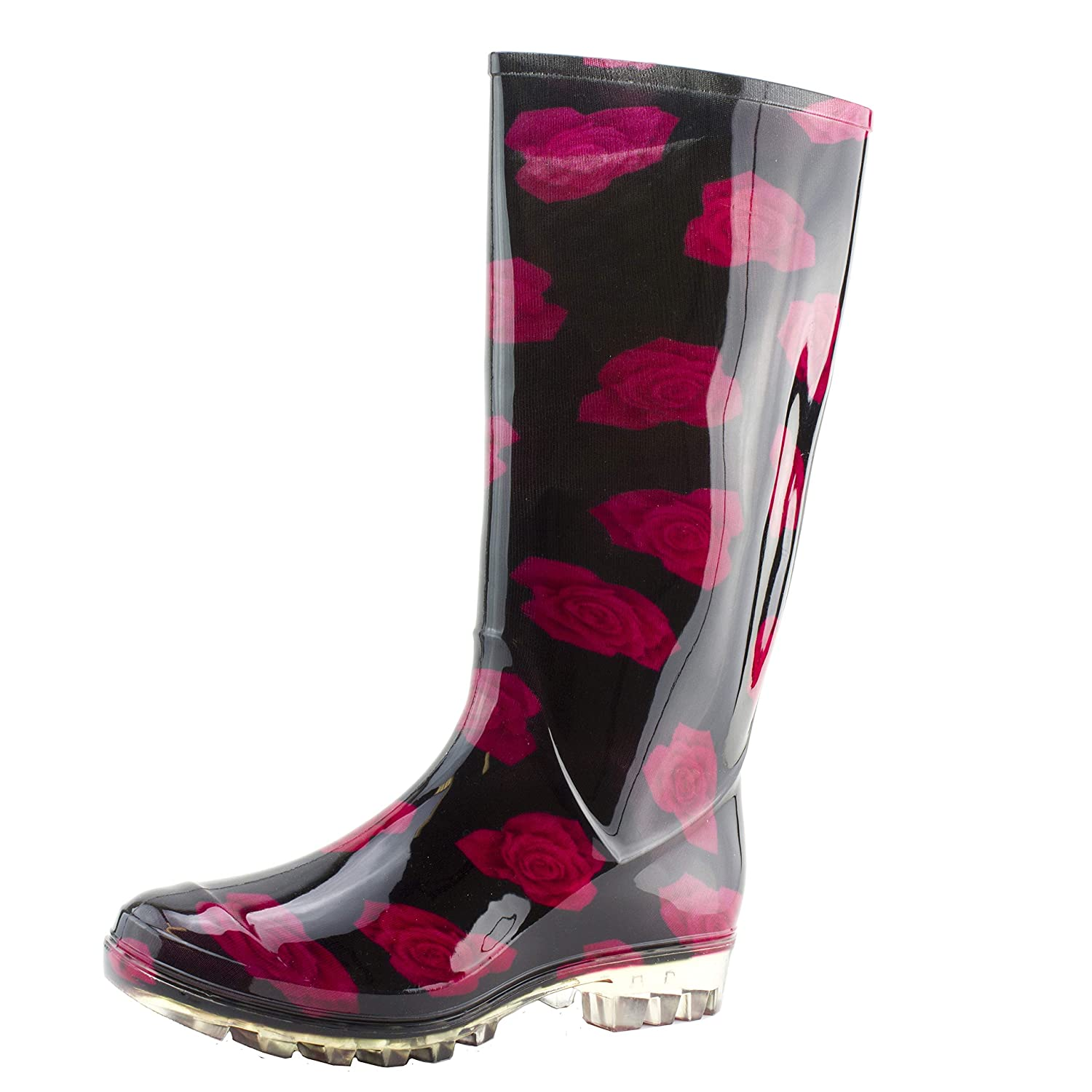 Black Red pink Easy Women's 14 Inch Flwer Print Four-Season Outdoor Rain Boots (Adults)