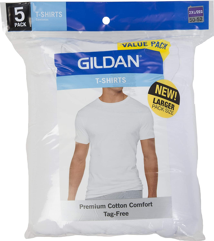 Gildan Mens 5-Pack White Premium Cotton Crew T-Shirts - Big Man 2X   Amazon.com