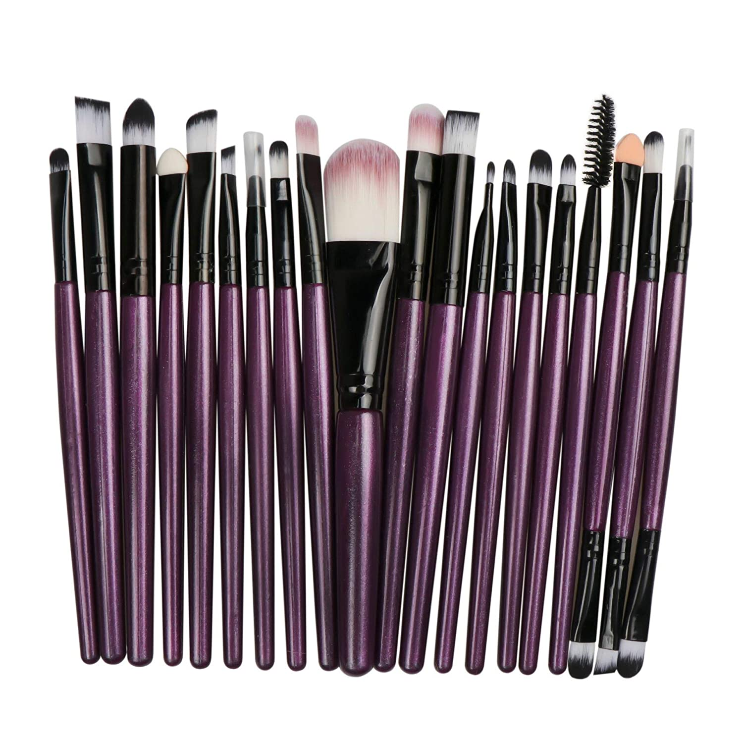 20 Pieces Premium quality Makeup Brushes Set include Foundation brush,eye brush,face brush,lip brush which can meet yourface and eye makeup application.