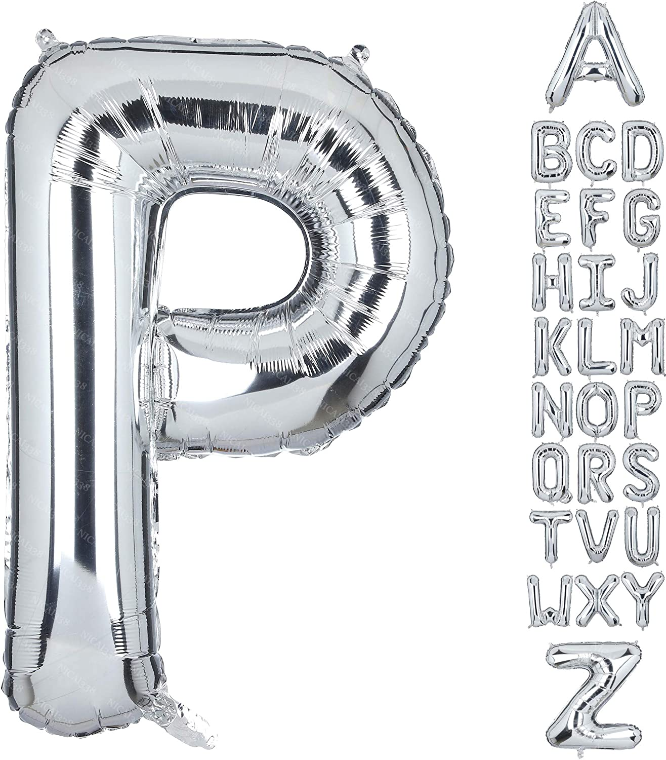 40 Inch Large Letter P Foil Balloons Silver Big Alphabet Mylar Helium Balloon for Birthday Party Decoration Supplies Wedding Decor Girls Custom Word HH(Sliver-P)