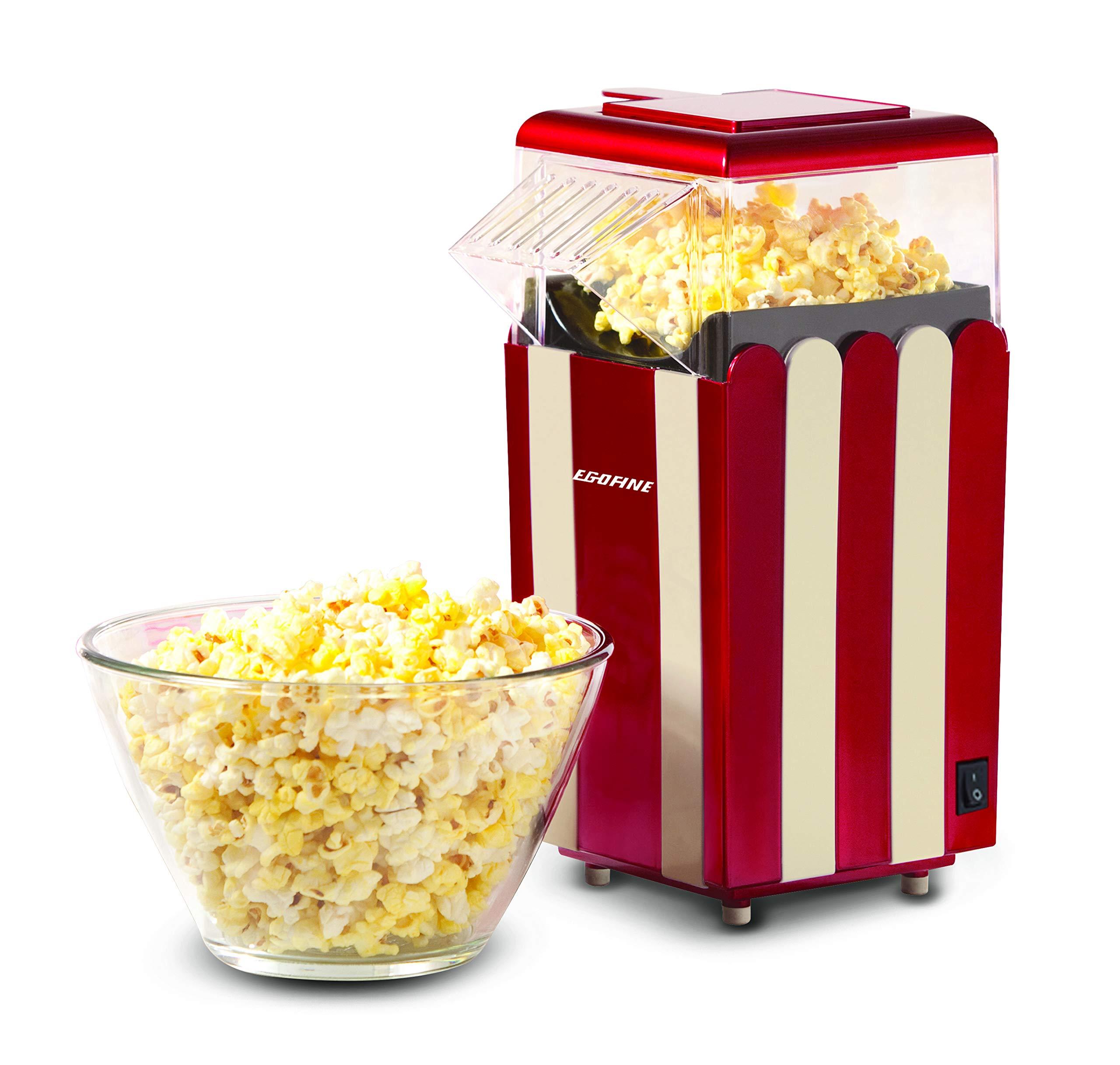 Egofine Popcorn Maker Machine, 1200W Healthy Hot Air Popcorn Popper, No Oil Needed by Egofine