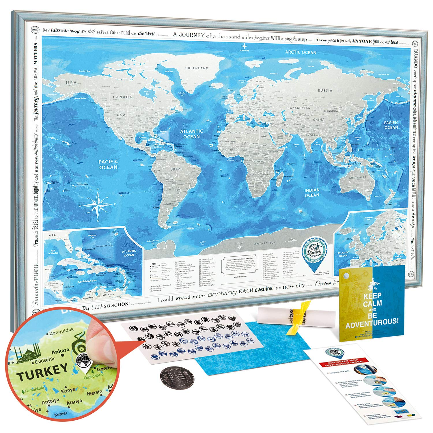 Map Of The World Detailed.Scratch Off World Map Framed Premium Detailed World Travel Map Scratch Off 35x25 With Blue Frame Award Winning Large Silver Foil World Map Scratch