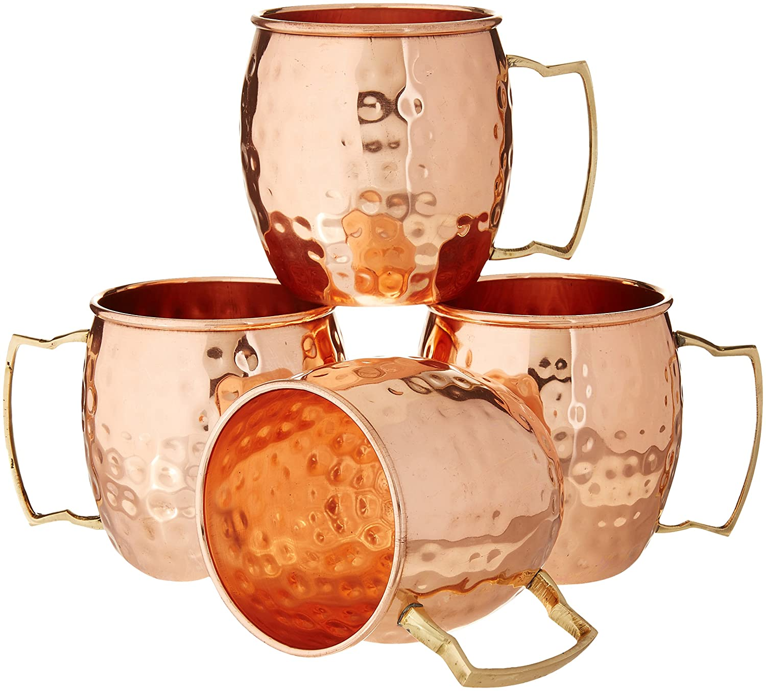 Zap Impex ® Pure Copper Hammered Moscow Mule Mug with Solid Brass Handle Set of 4-16 Ounce SYNCHKG103019