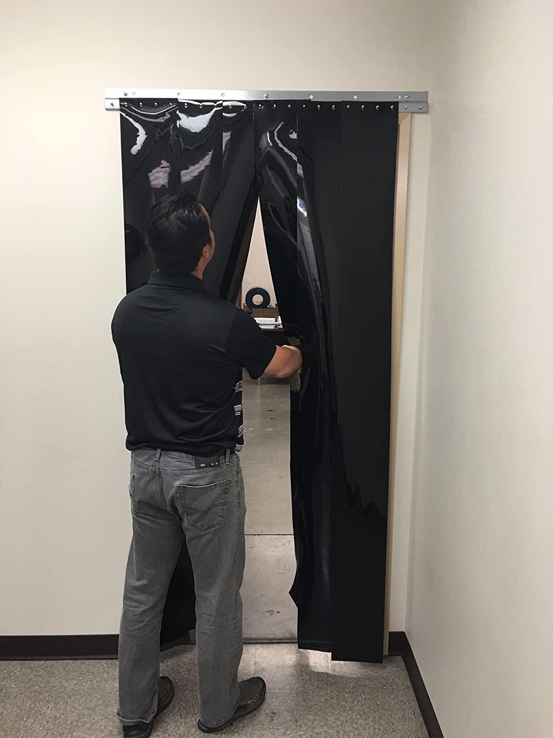 height Black Opaque smooth 8 in Hardware included width X 96 in. 108 in. 9 ft 8 ft strips with 50/% overlap common door kit Strip-Curtains.com: Strip Door Curtain