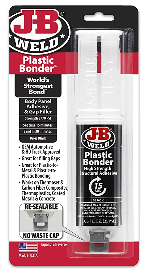JB Weld 50139 Plastic Bonder Body Panel Adhesive and Gap Filler Syringe -  Dries Black - 25 ml