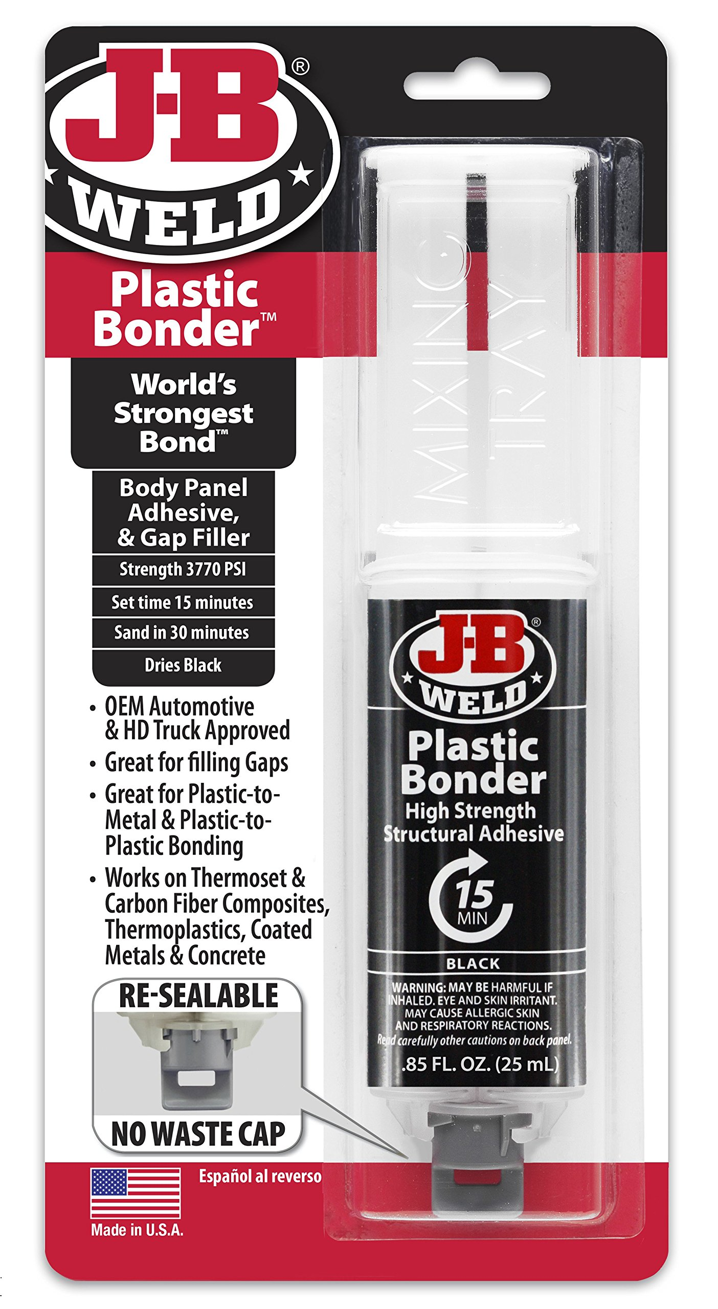 J-B Weld 50139 Plastic Bonder Body Panel Adhesive and Gap Filler Syringe - Dries Black -