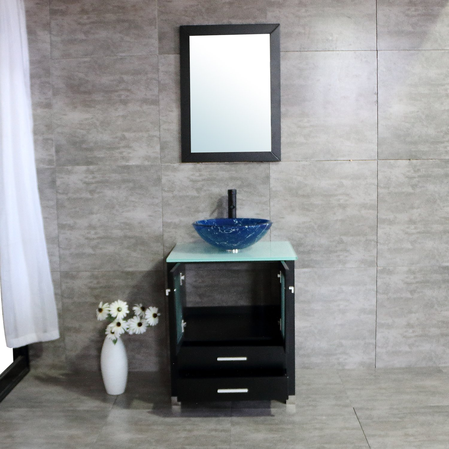 BATHJOY 24 Inches Bathroom Vanity Set Wood Cabinet Top Tempered Glass Vessel Sink ORB Faucet Combo with Mirror