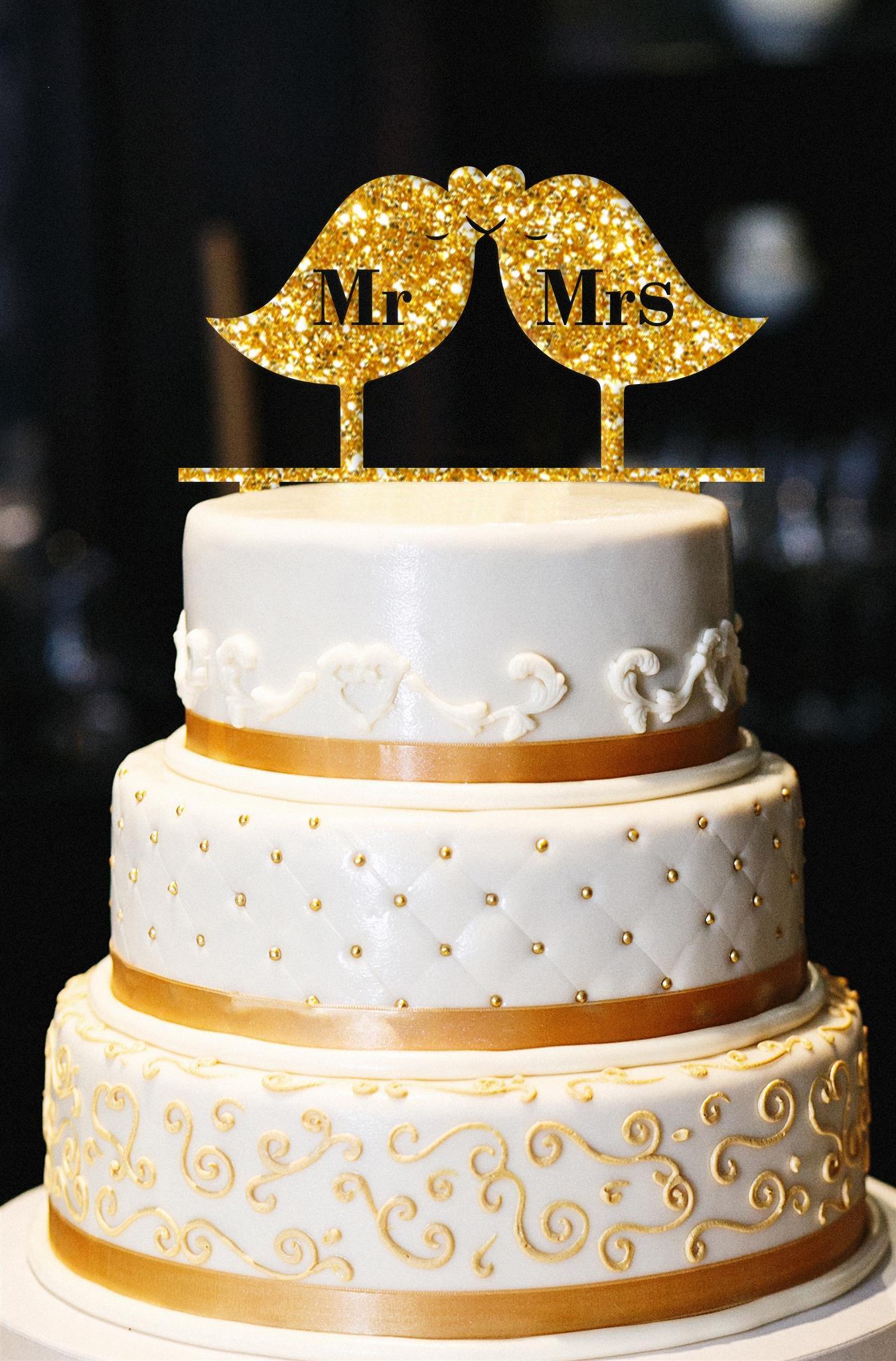 Mr & Mrs Wedding Cake Topper, Birds Wedding Cake Topper, Gold Wedding Cake Topper, Wedding Cake Topper, Gold Glitter Wedding Cake Topper (15'', Glitter Gold)
