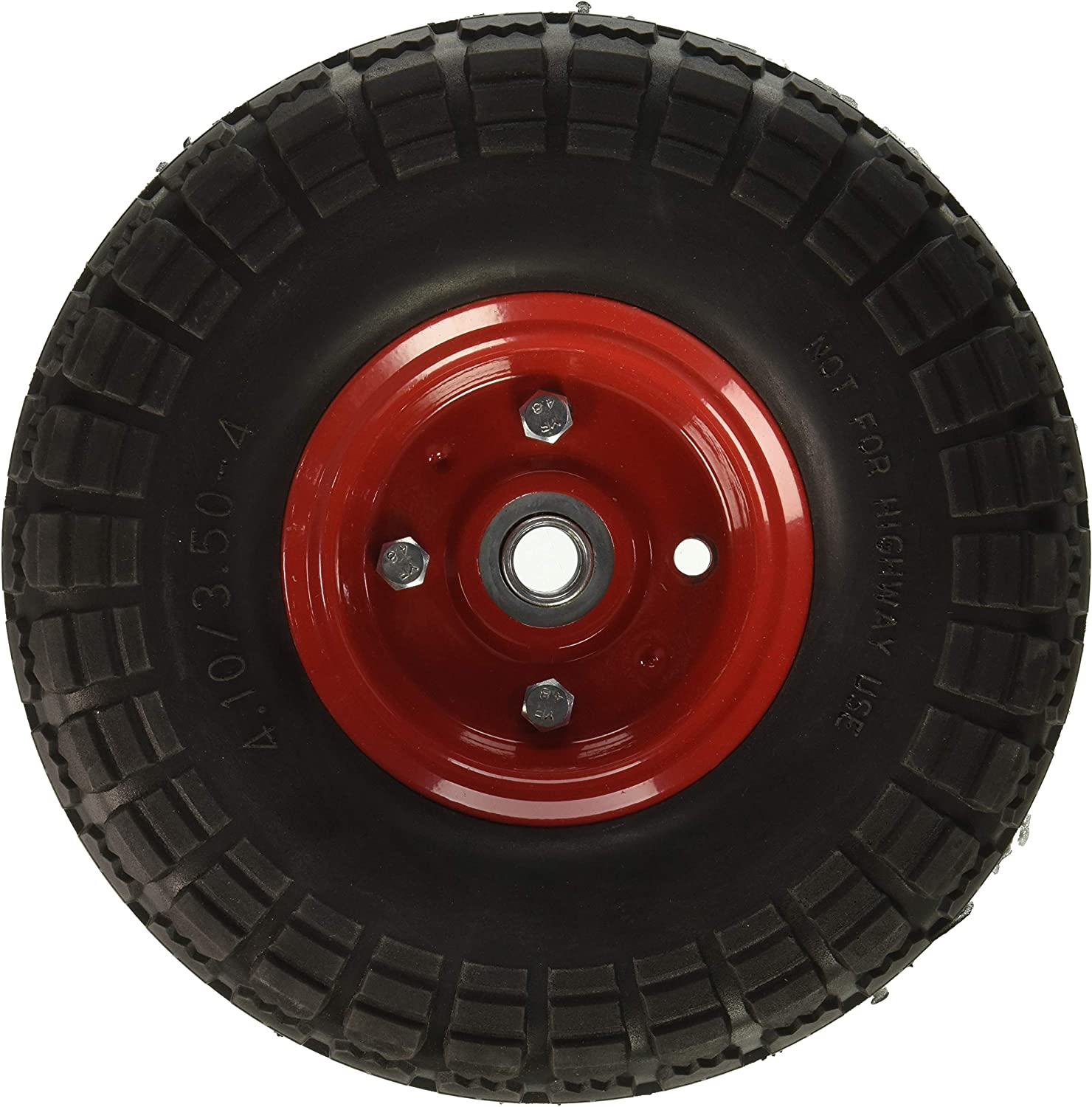 Offset Hub 10 Flat Free Hand Truck Tire//Utility Cart Tire with 5//8 Center Shaft Hole