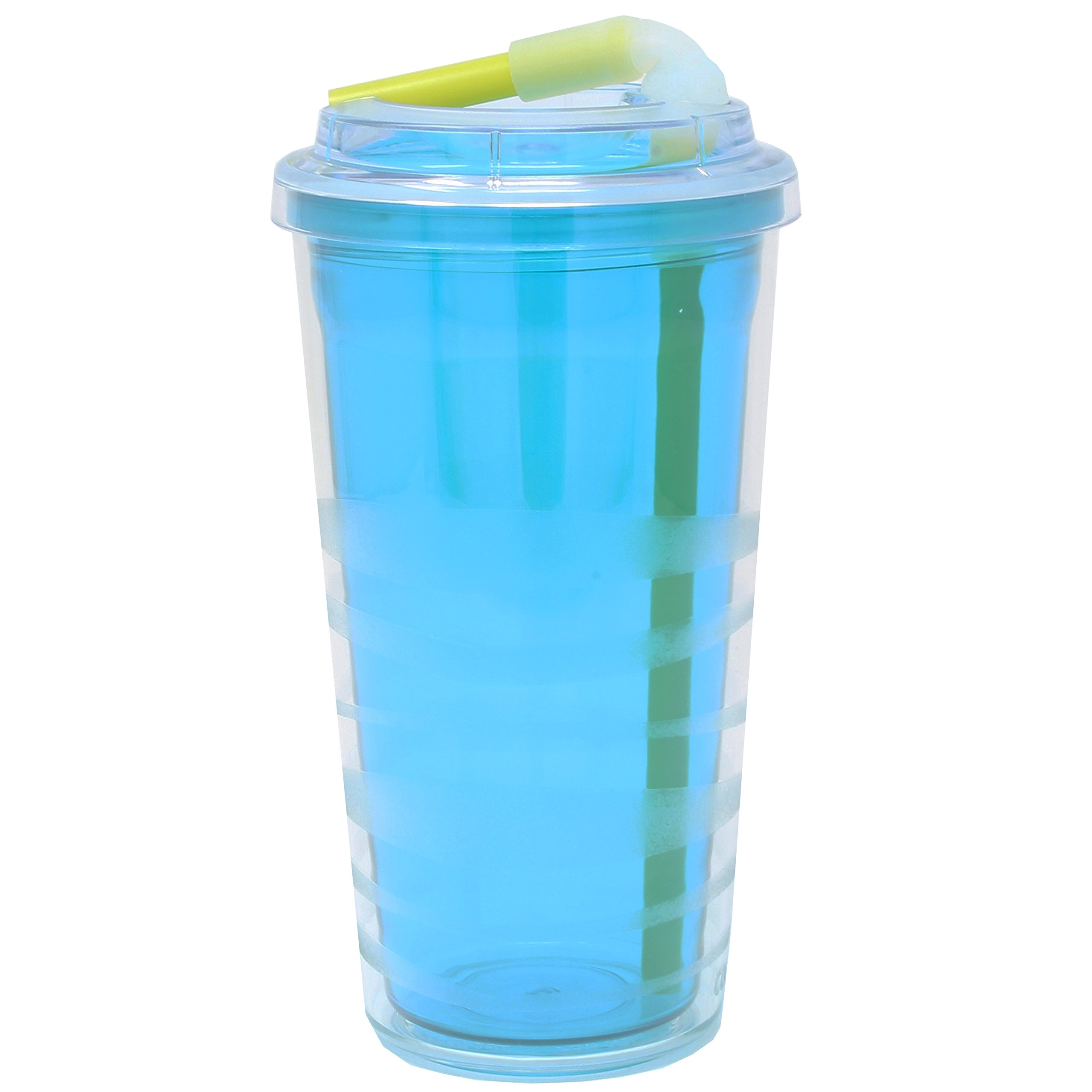 Copco 2510-2139 Lock-N-Roll Double Wall Tumbler with Flip Up Straw, 16-Ounce, Teal Blue