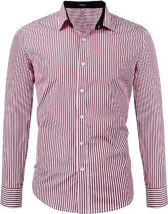 iClosam Camisa Casual Hombre Manga Larga Rayas Slim Fit Camiseta EláStica Casual/Formal para Hombres: Amazon.es: Ropa y accesorios