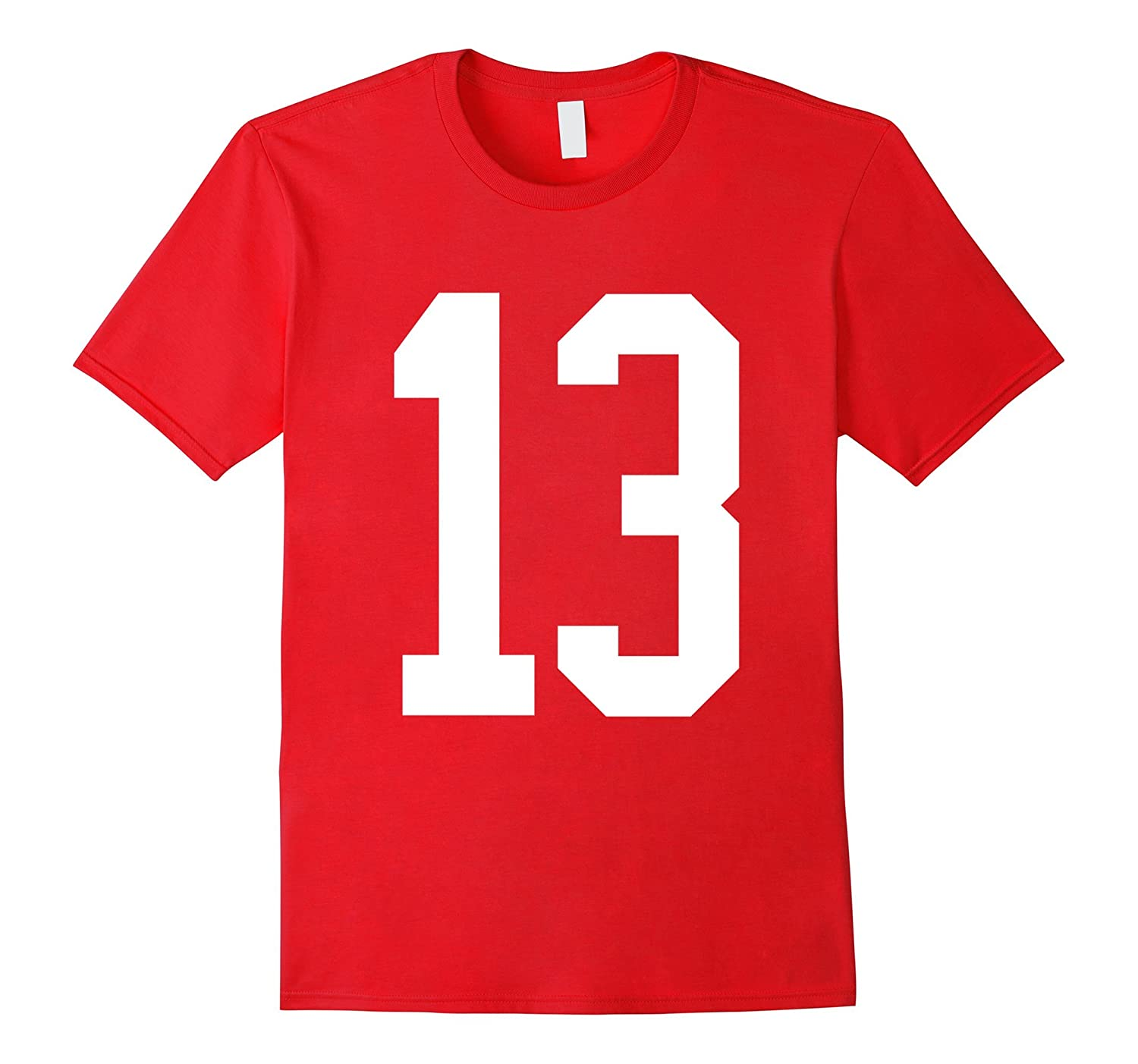 #13 White Number 13 Sports Fan Jersey Style T-Shirt-ANZ