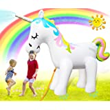 Unicorn Sprinkler for Kids Outdoor Play, Giant Inflatable Unicorn Sprinklers for Outside, Backyard Water Fun Blow Up Unicorn