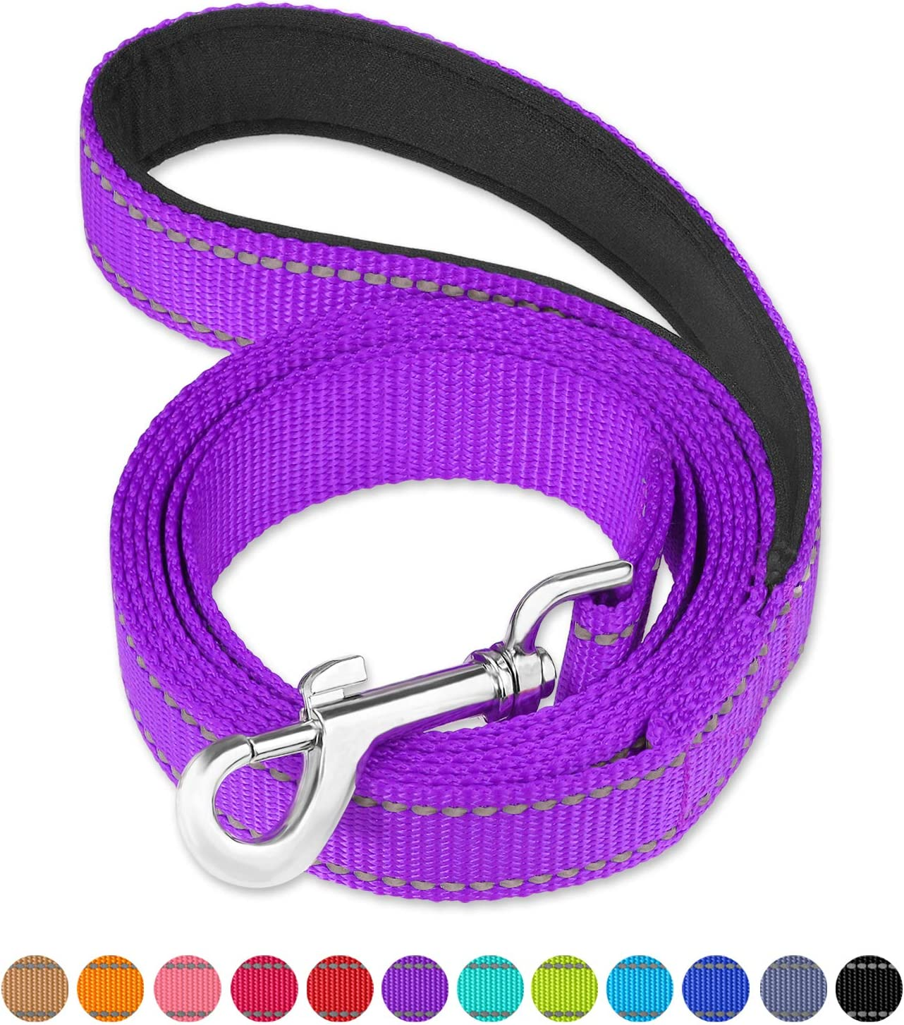 FunTags 6FT //4FT Reflective Nylon Dog Leash with Soft Padded Handle for Training,Walking Lead for Large Medium /& Small Dogs