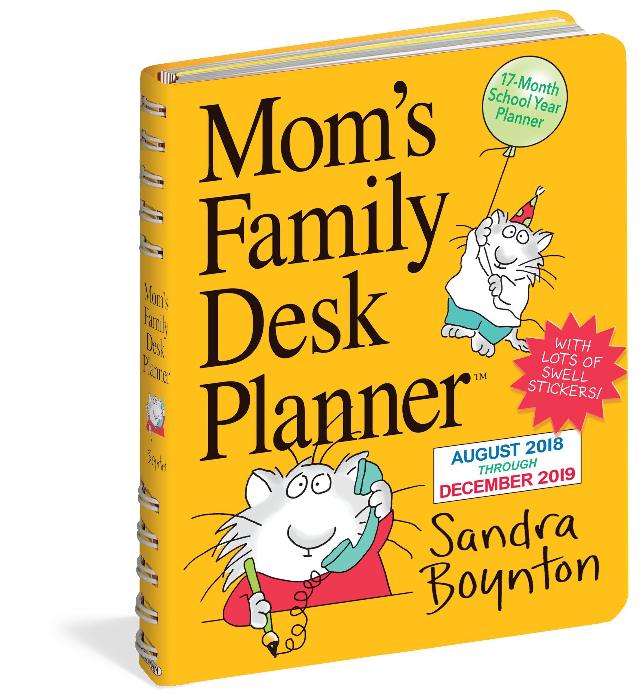 moms family desk planner calendar 2019 sandra boynton 9781523503148 amazoncom books