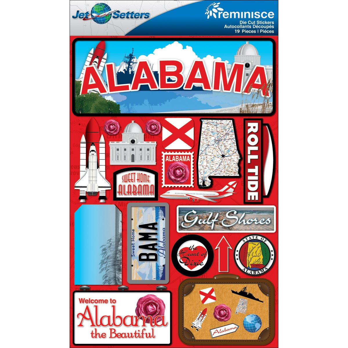 Reminisce Jet Setters Dimensional Stickers-Alabama by Reminisce B007DKNMOQ