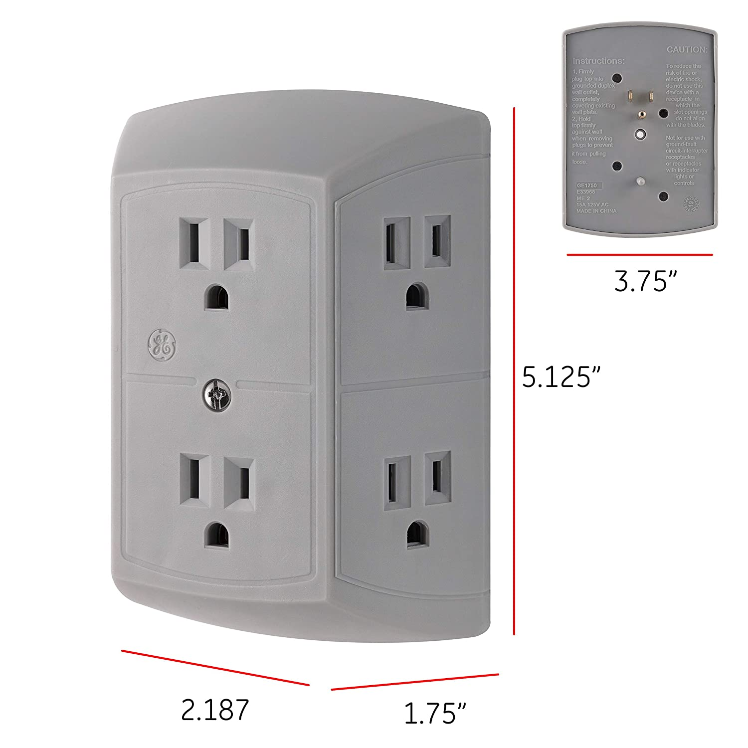 Gray 1 Pack 3 Prong Quick /& Easy Install Grey Power Adapter for Home Office Multi Outlet Wall Charger 45200 Extra Wide Spaced Cell Phone GE 6 Plug Strip