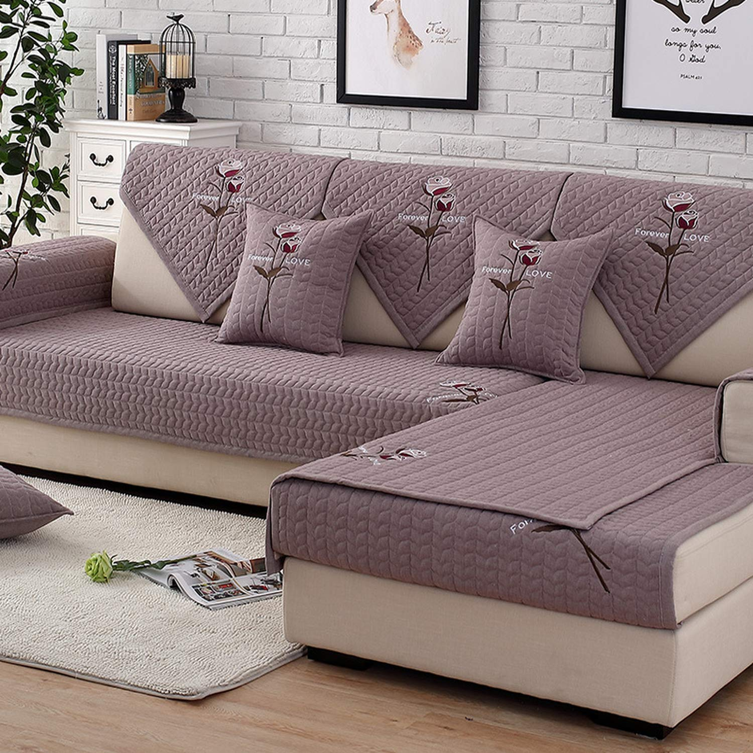 Amazon.com: Solid Color Sofa Covers Couch Cover Embroidered ...
