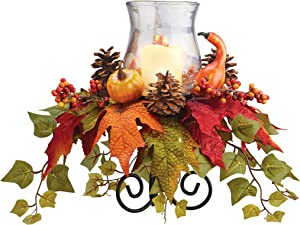 Autumn Floral Glass Hurricane Candleholder Centerpiece | for Mantel, Tabletop | Iron Stand Filled with Fall Pieces | for Use W/LED Candles (Not Incl.) | Glass, Polyfoam, Plastic, Metal, Rattan