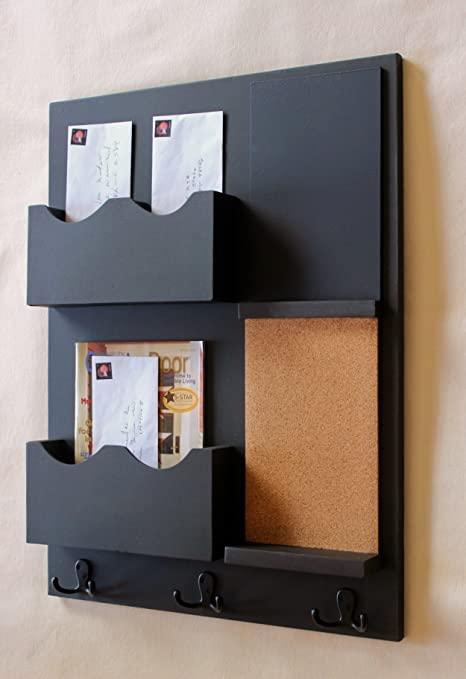 Amazon.com: Legacy Studio Decor Mail Organizer Cork Board Chalkboard Coat  Hooks Key Hooks Double Mail Slots (Smooth, Off White): Office Products
