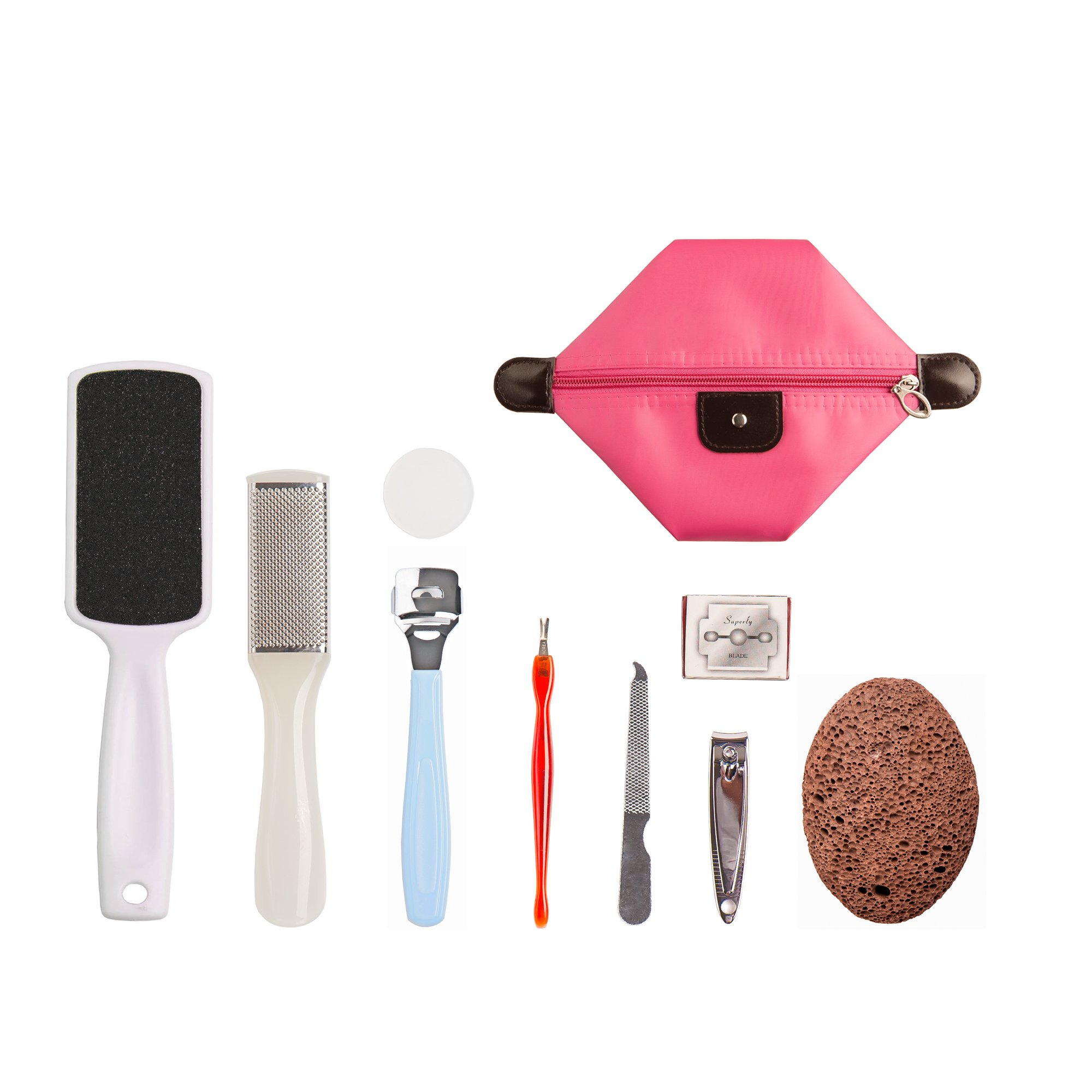 Professional Foot File  with Volcanic Pumice Stone/Rasp, Cristalbox 10 in 1 Best  Pedicure Tools Callus Remover for Removing Hard, Cracked, Dead Skin Cells, Home Pedicure