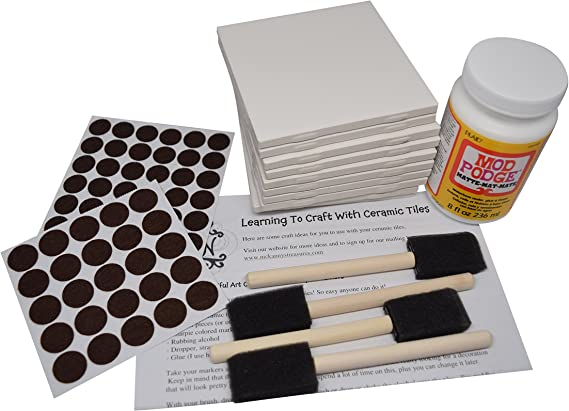 4 Sponge Craft Brushes and Felt Pads Annys Coaster Tile Kit: Set of 10 Glossy White Ceramic Tiles 4 1//4 By 4 1//4 Each Mod Podge Exclusive Guide for Tile Crafts