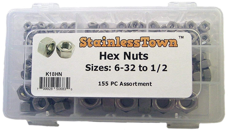 Stainless Steel Hex Nut Assortment Kit Stainless Town K18HN