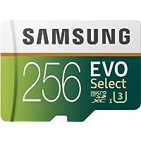 Samsung EVO Select - Tarjeta de Memoria microSDXC de 256 GB con Adaptador SD, 100 MB/s, U3, Color Verde y Blanco