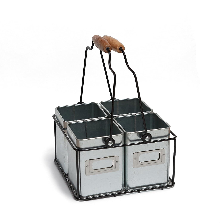 Kenley Porta da Cucina per Posate Oggetti Accessori Utensili Portautensili Portamestoli Scatola Organizer Caddy Spugne Contenitore Supporto di Latta Mestoli