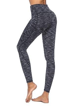 nouveau concept 4967d 39b7e Hibbent Legging Femme Pantalon d'Entraînement Course de Sport Yoga Fitness  Gym Pilates Taille Haute Gaine avec Poche latérale
