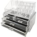Jeronic Makeup Cosmetic Organizer Jewelry Case Storage Drawers, Two Pieces Set