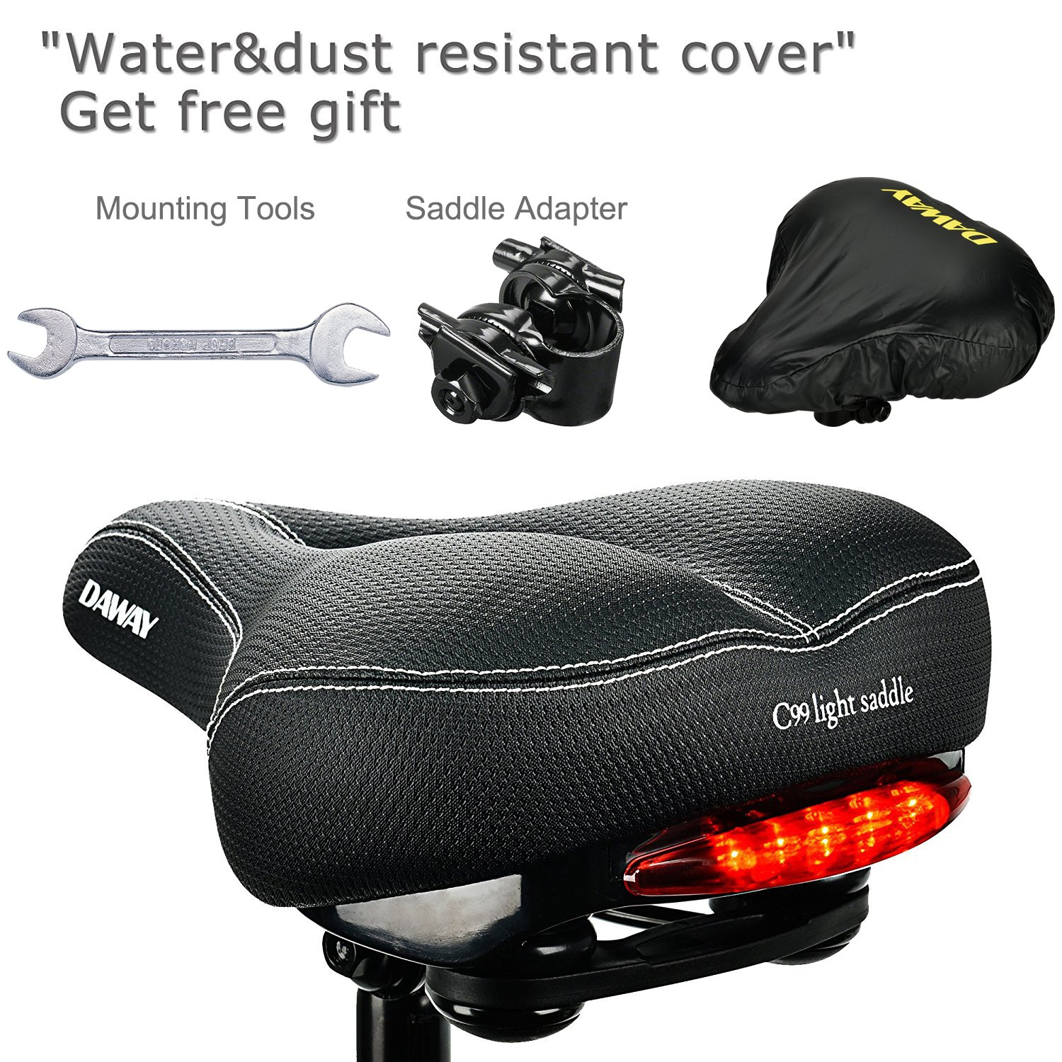 DAWAY Comfortable Men Women Bike Seat C99 Memory Foam Padded Leather Wide Bicycle Saddle Cushion with Taillight, Waterproof, Dual Spring Designed, Soft, Breathable, Fit Most Bikes, 1 Year Warranty by DAWAY (Image #6)
