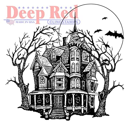 Halloween Spooky House.Deep Red Rubber Stamp Haunted Mansion Happy Halloween Spooky House