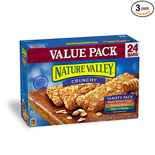 Nature Valley Granola Bars, Crunchy, Variety Pack of Oats 'n Honey, Peanut Butter, Maple Brown Sugar, 12 Pouches, 2-Bars Per Pouch, 1.49 oz (Pack of 3)