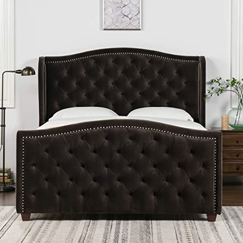 Jennifer Taylor Home Marcella Upholstered Shelter Headboard Bed Set