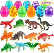 UFUNGA 12 Pack Easter Eggs - Prefilled Dinosaur Toys Plastic Eggs for Easter Eggs Hunt, Basket Stuffers Fillers, Easter Them