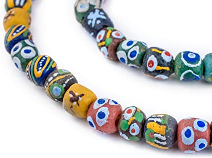 Multicolor Recycled Glass Beads 18mm Ghana African Sea Glass Round Large Hole