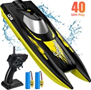 RC Boat for Kids, SYMA Q9 Remote Control Boat for Pool and Lake with 2.4GHz 10km/h Speedboat, Double Power, Low Battery Remi
