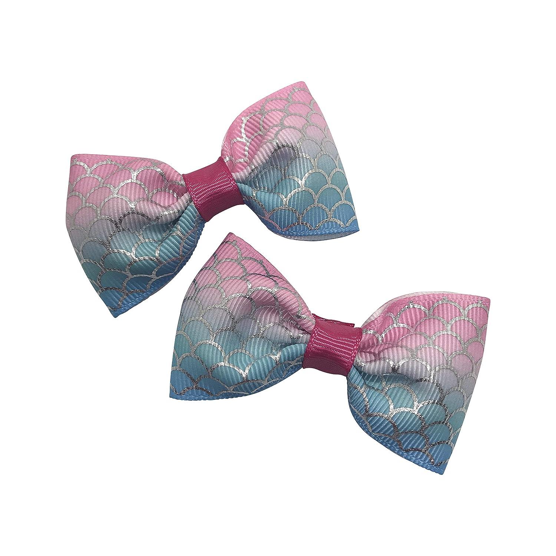 """Lot de 2 Toddler//Pigtail 1.5/"""" Bow élastique de cheveux élastique bleu marine et bleu paillettes"""