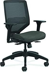 The HON Company HONSVM1ALC10TK HON Solve Series Mesh Task Mid Back Office Chair for Computer Desk, Ink (HSLVTMM), COMP10