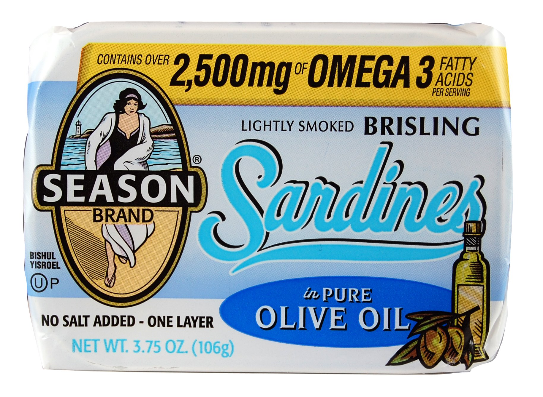 Season Brisling Sardines in Pure Olive Oil, No Salt Added, 3.75 Ounce (Pack of 12) by Season 1