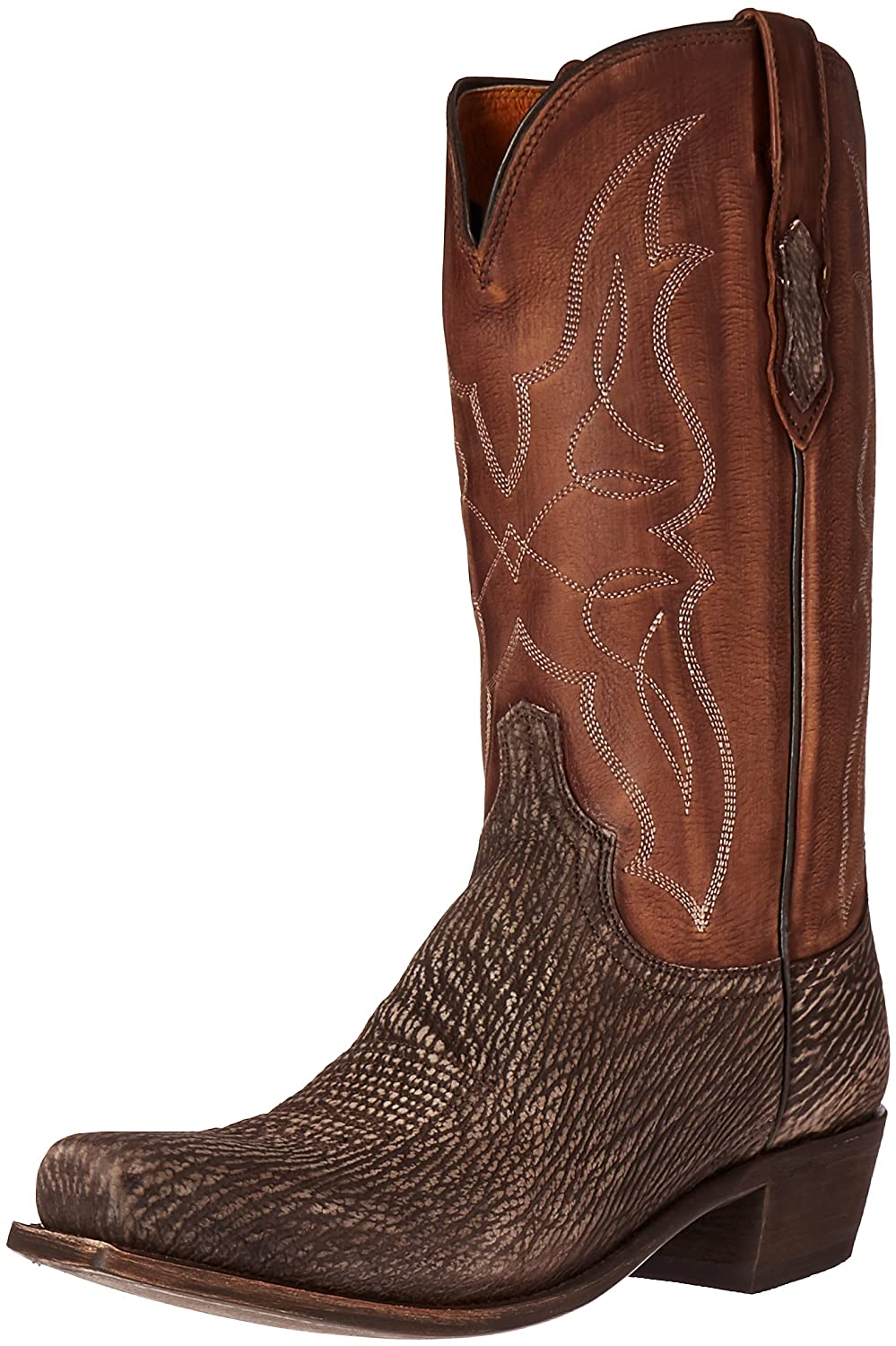 Lucchese Men's Carl-Chocolate Sanded Shark Riding Boot