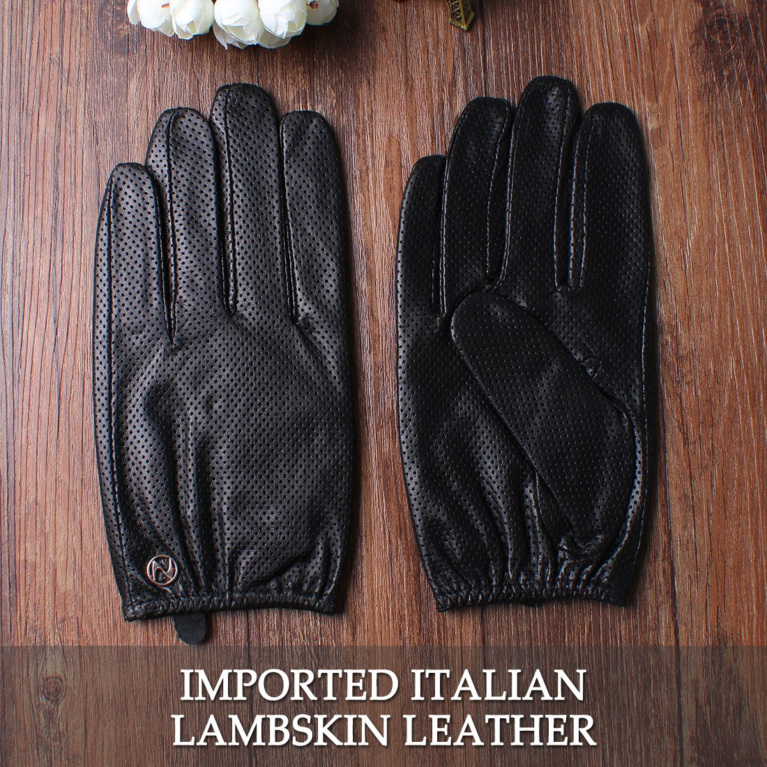 Nappaglo Men's Leather Gloves Lambskin Touchscreen Winter Warm Perforated Driving Motorcycle Mittens (M (Palm Girth:8''-8.5''), Black (Touchscreen)) by Nappaglo (Image #4)