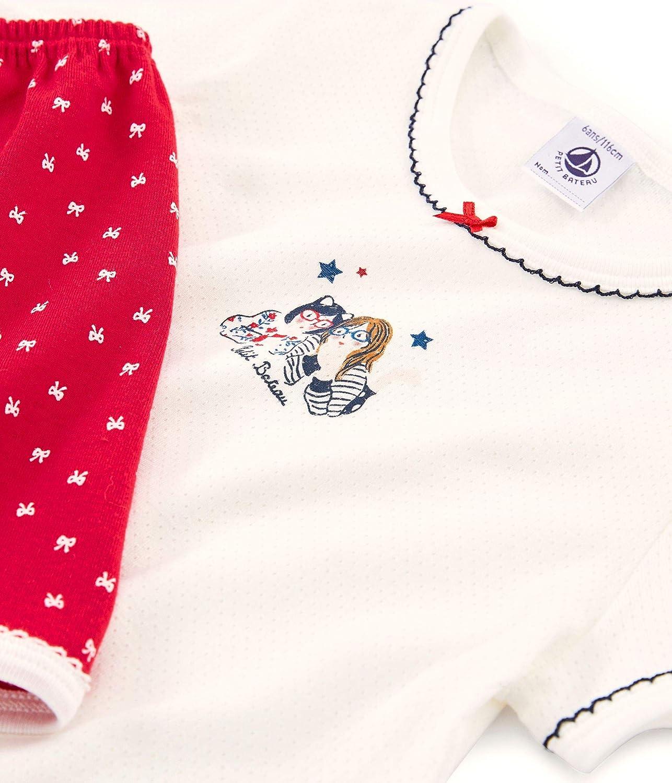 Terkuit//Marshmallow 01 Petit Bateau M/ädchen Zweiteiliger Schlafanzug Bilvie Mehrfarbig 128